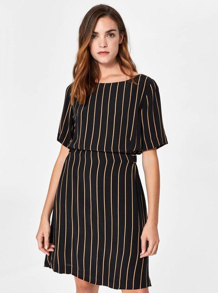 Černé pruhované šaty s krátkým rukávem Selected Femme Alessa