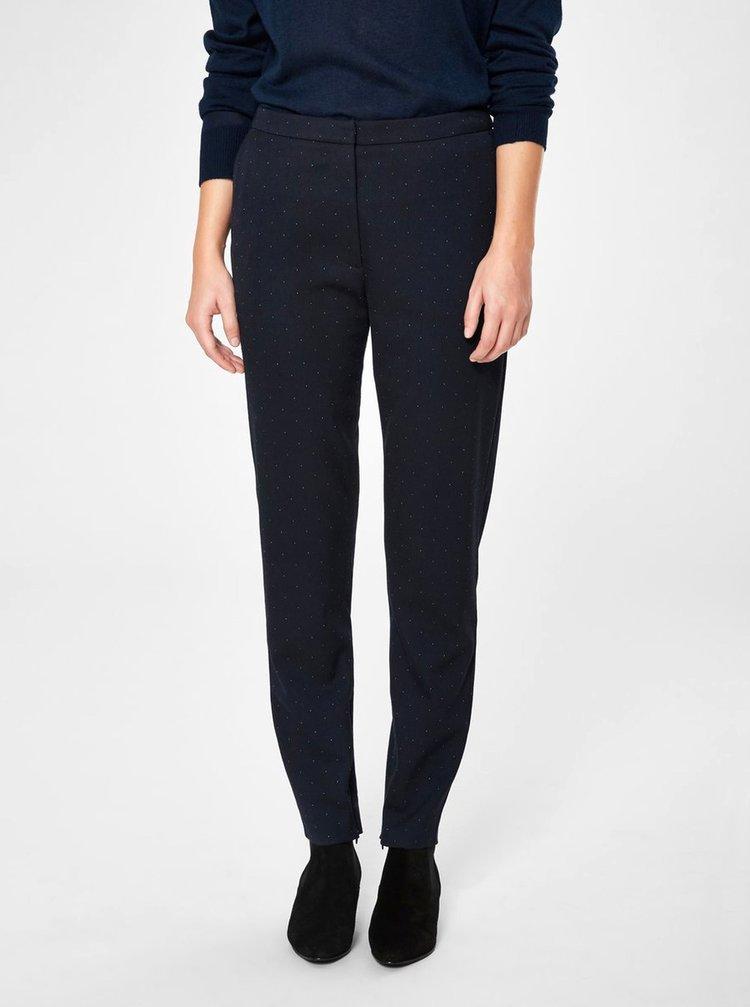 Tmavomodré bodkované skrátené nohavice s vysokým pásom Selected Femme Muse