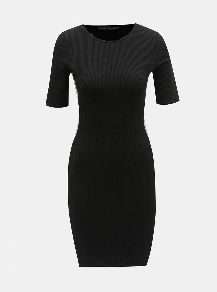 Černé žebrované šaty s pruhem na boku TALLY WEiJL Peeri