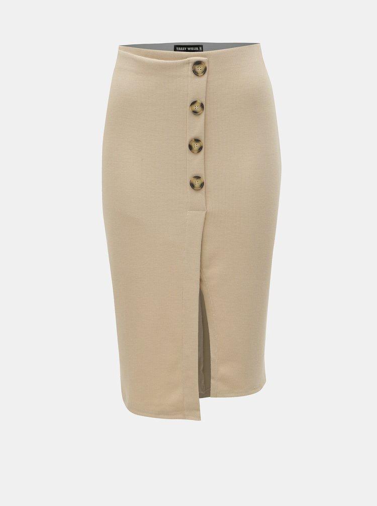 Béžová žebrovaná sukně s rozparkem TALLY WEiJL Pekado