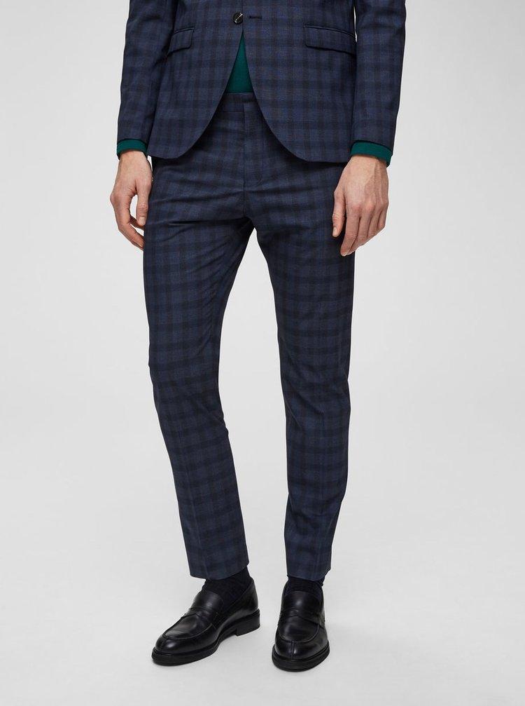 Pantaloni formali albastru inchis in carouri slim Selected Homme Logan