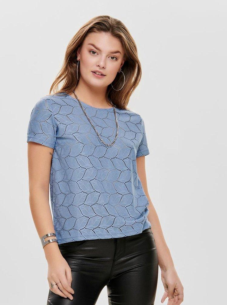Tricou albastru cu motiv perforat Jacqueline de Yong Tag