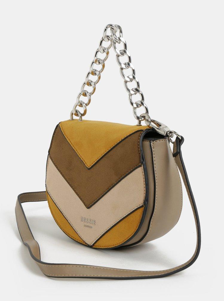 e3edbada4a8a ... Horčicovo–béžová crossbody kabelka v semišovej úprave Bessie London