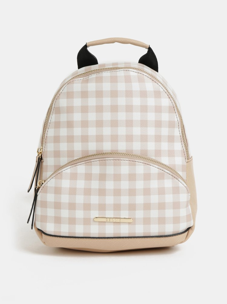 ... Bielo–béžový kockovaný batoh Bessie London 85a924eb604