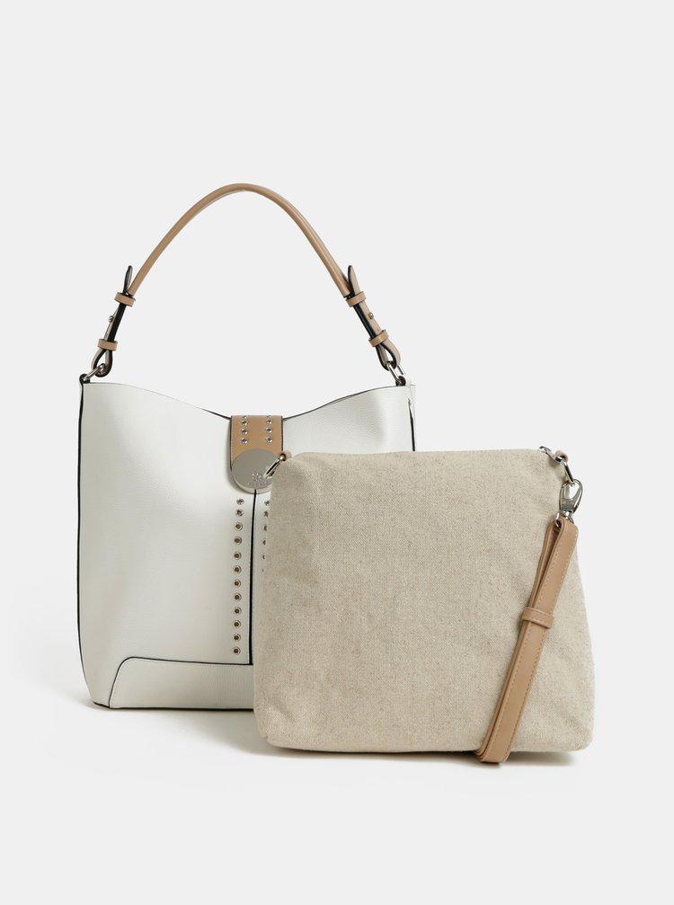 Geanta pentru shopping alba cu geanta peste umar 2 in 1 Bessie London