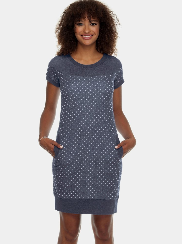 Tmavě modré mikinové puntíkované šaty Ragwear Claire