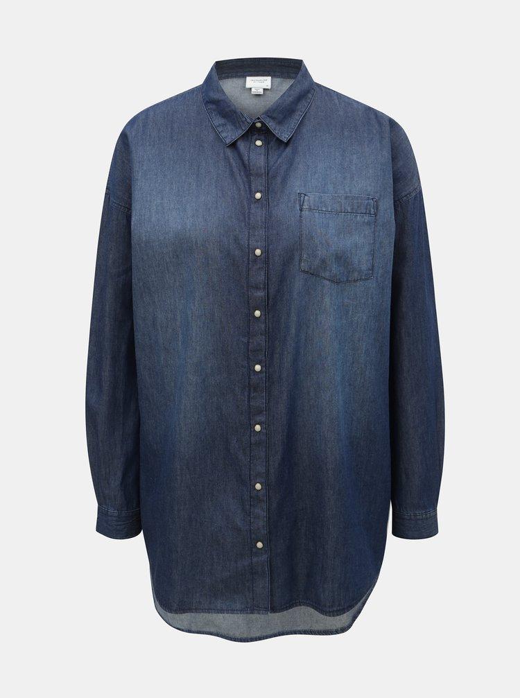 Tmavě modrá dlouhá džínová košile Jacqueline de Yong Ib
