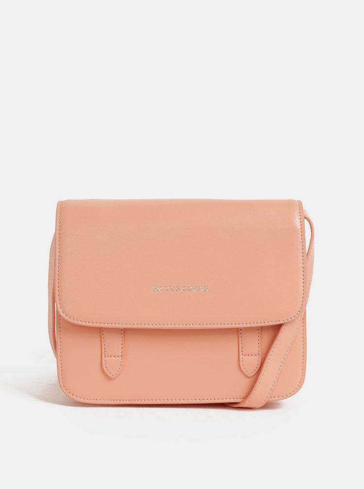 Růžová kožená crossbody kabelka Smith & Canova Cacey