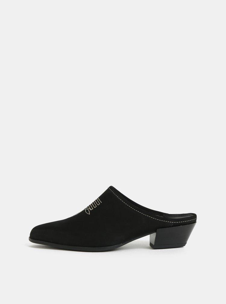 Černé dámské semišové pantofle s výšivkou Vagabond Hayley