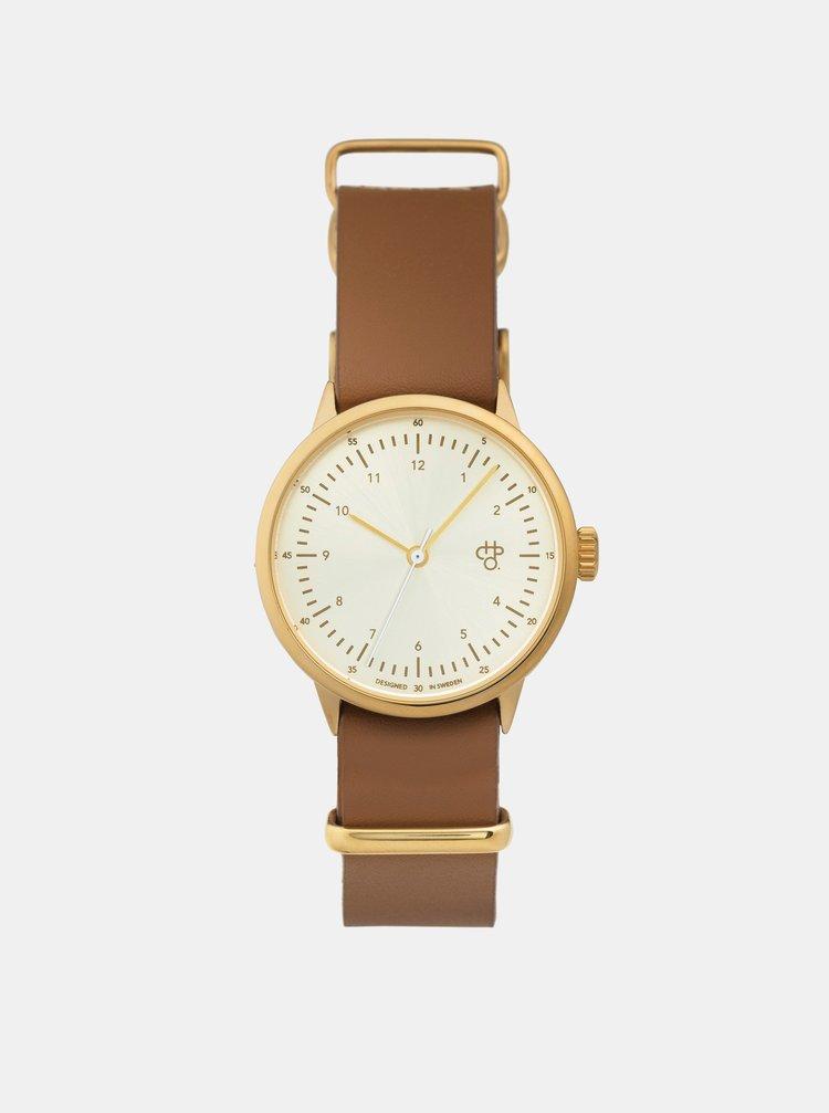 Dámske hodinky s hnedým koženým remienkom CHPO Harold mini