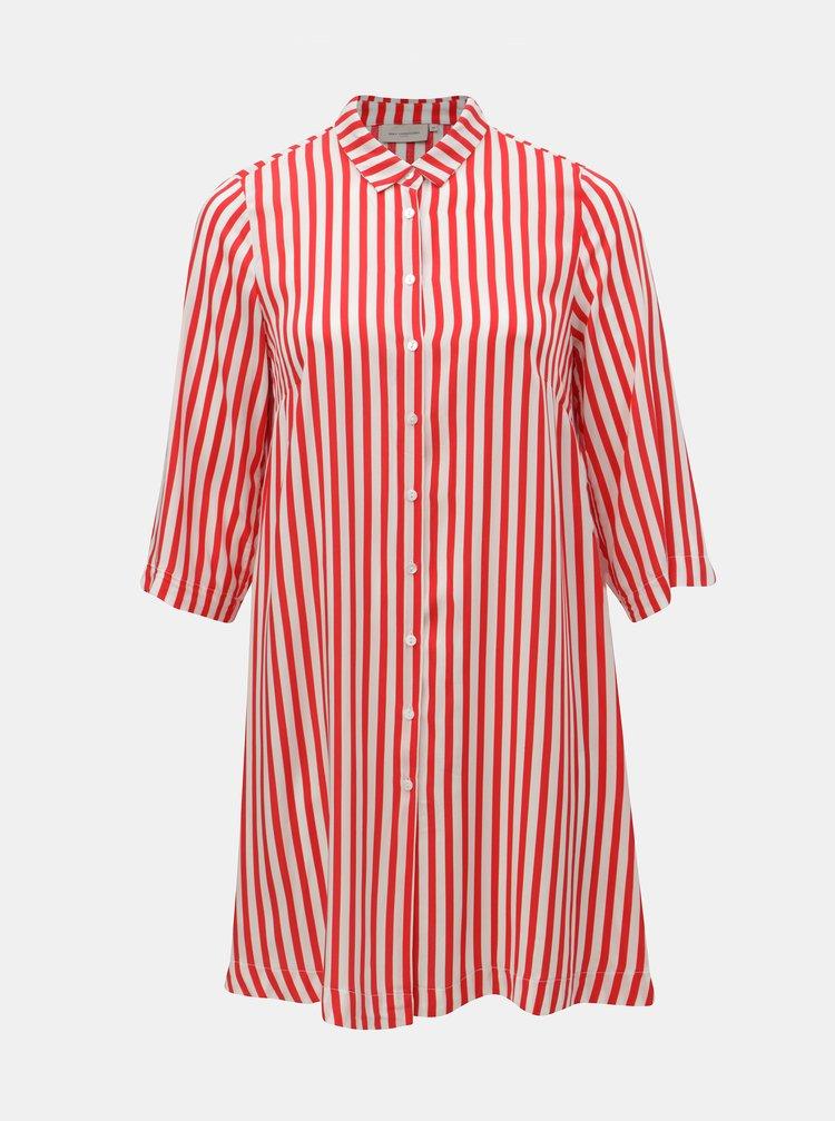 Bílo-červené pruhované košilové šaty ONLY CARMAKOMA Luna