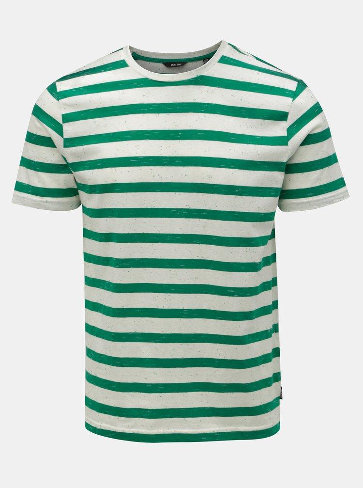 Zeleno-bílé pruhované tričko ONLY & SONS Elky