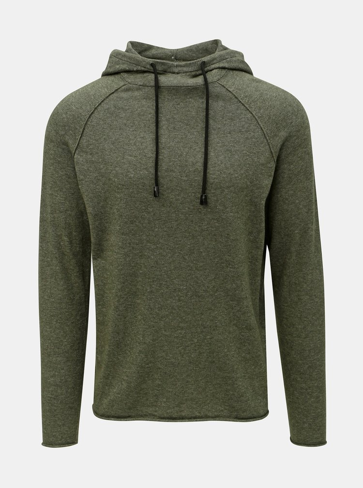 Khaki žíhaný svetr s kapucí ONLY & SONS Alexo