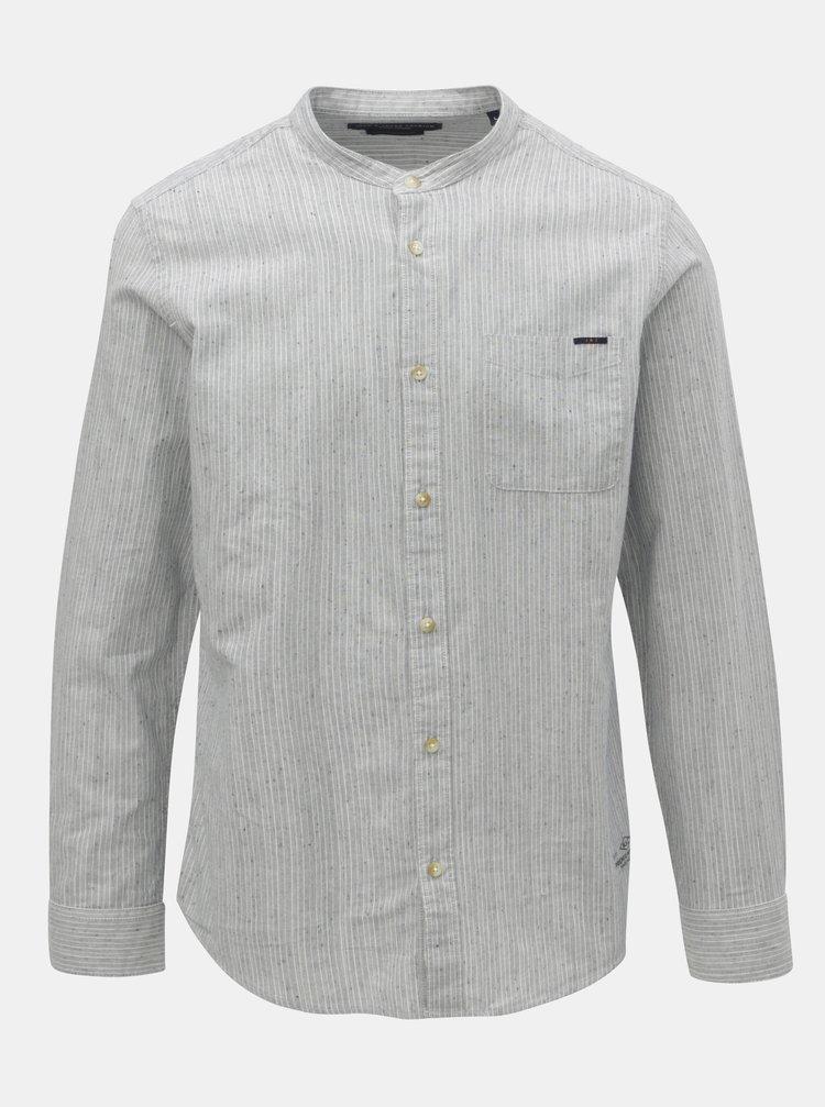 Světle modrá pruhovaná slim fit košile Jack & Jones Nevada