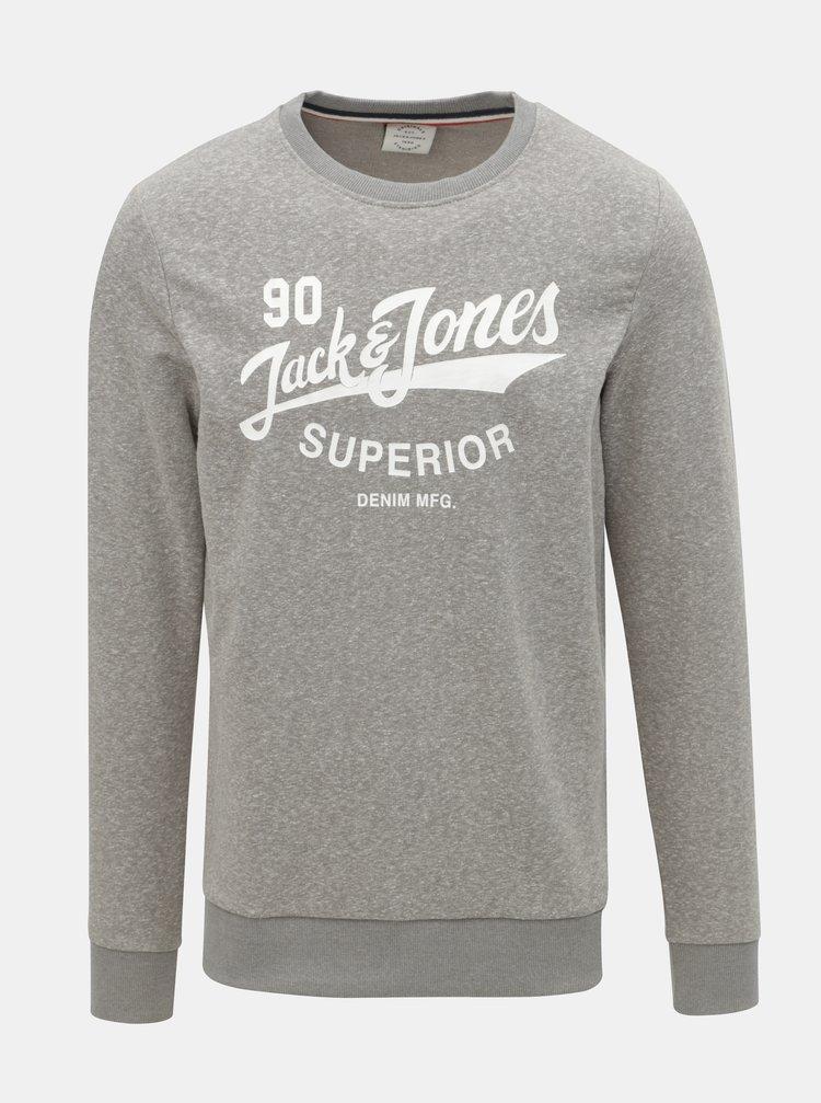 Bluza sport gri melanj cu imprimeu Jack & Jones Summer Time