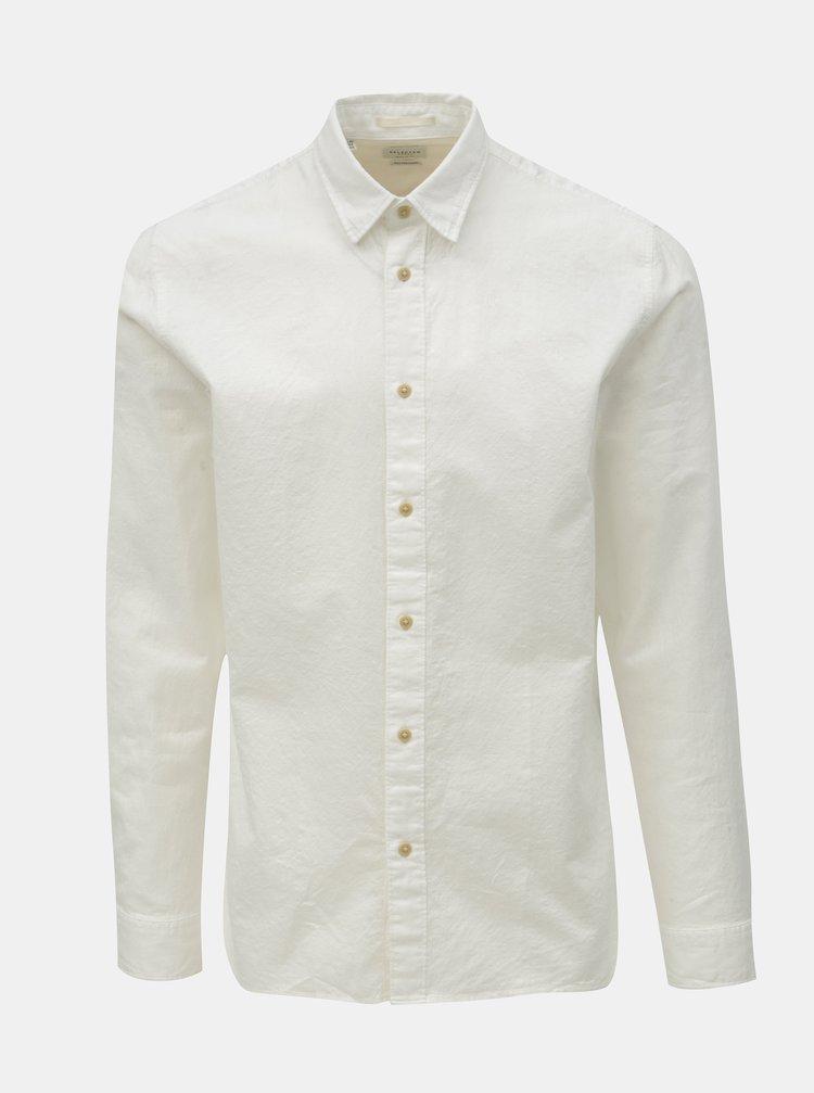 Bílá regular fit košile s příměsí lnu Selected Homme Michael