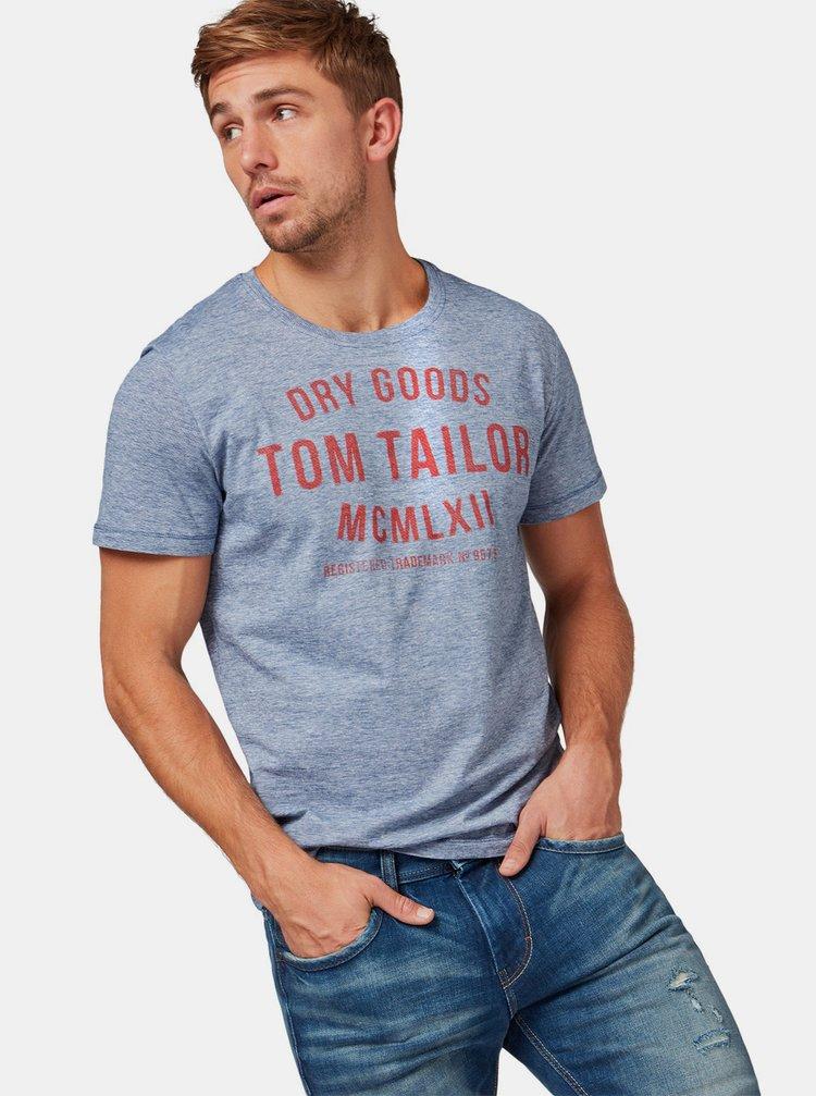 Tricou barbatesc albastru melanj cu imprimeu Tom Tailor