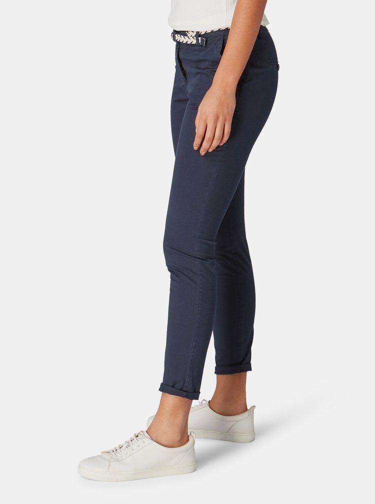 Tmavě modré dámské slim fit chino kalhoty Tom Tailor