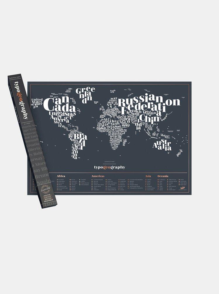 Černá stírací mapa Luckies Typogeography