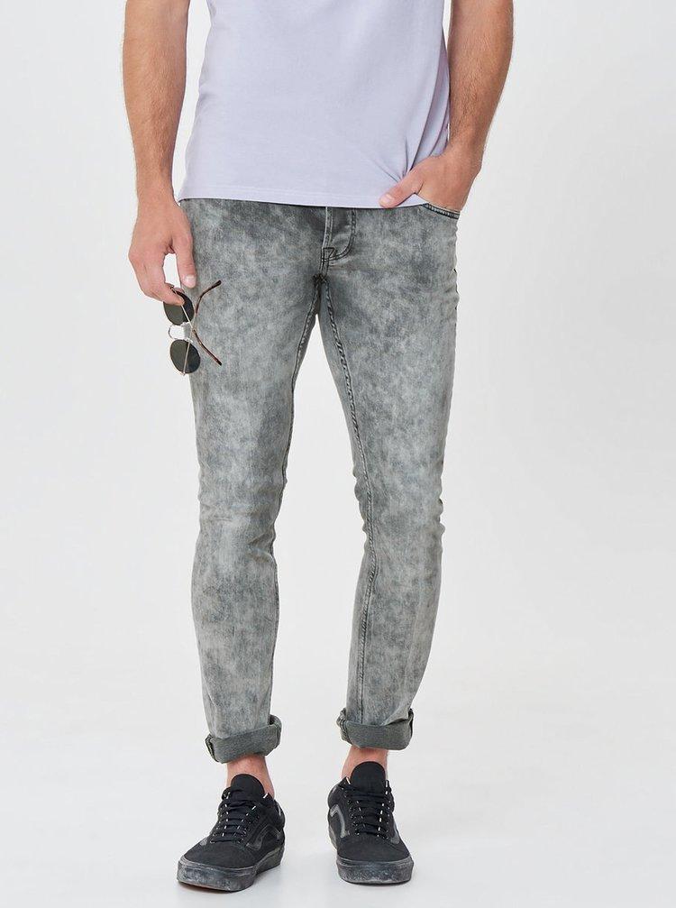 Šedé vzorované slim fit džíny ONLY & SONS Pun