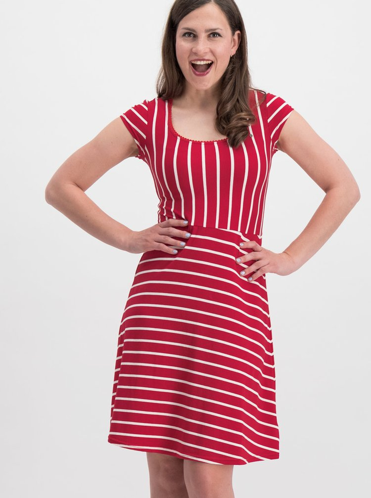 Červené pruhované šaty Blutsgeschwister Logo Stripe