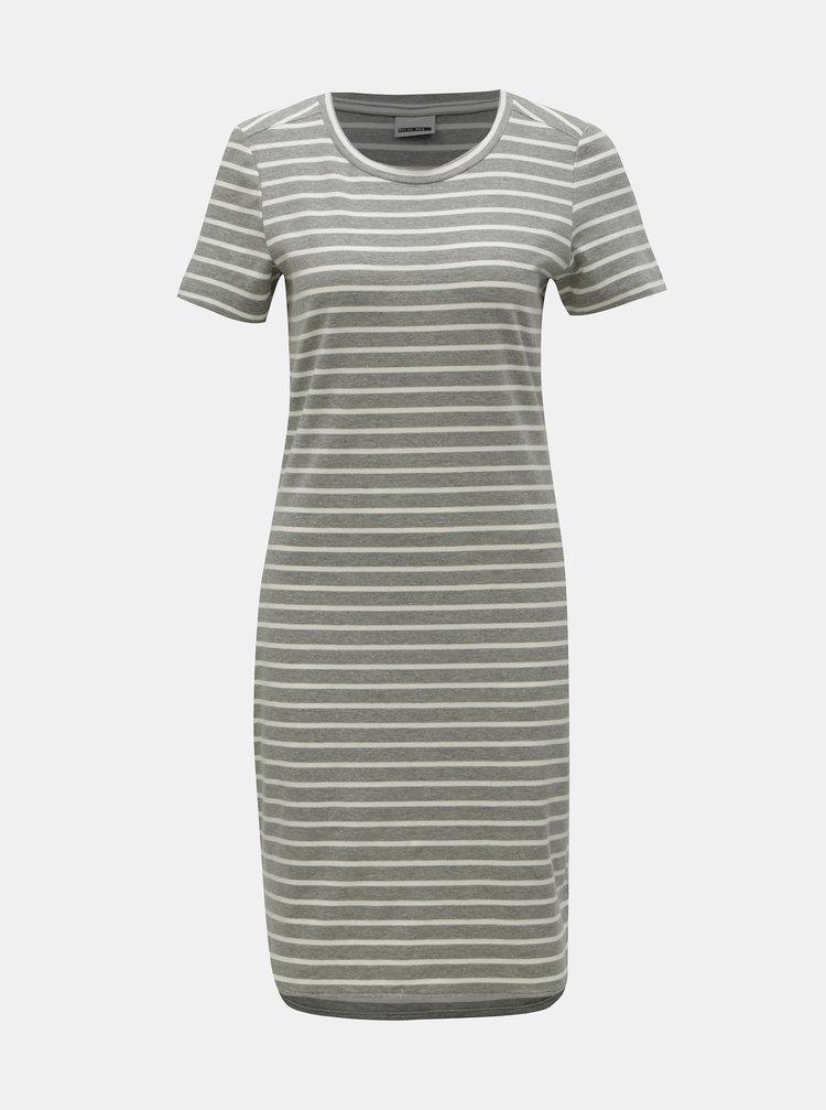 Šedé pruhované basic šaty Noisy May Summer