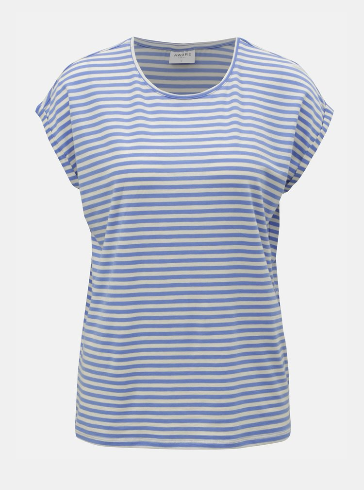 Tricou basic alb-albastru in dungi VERO MODA AWARE Ava