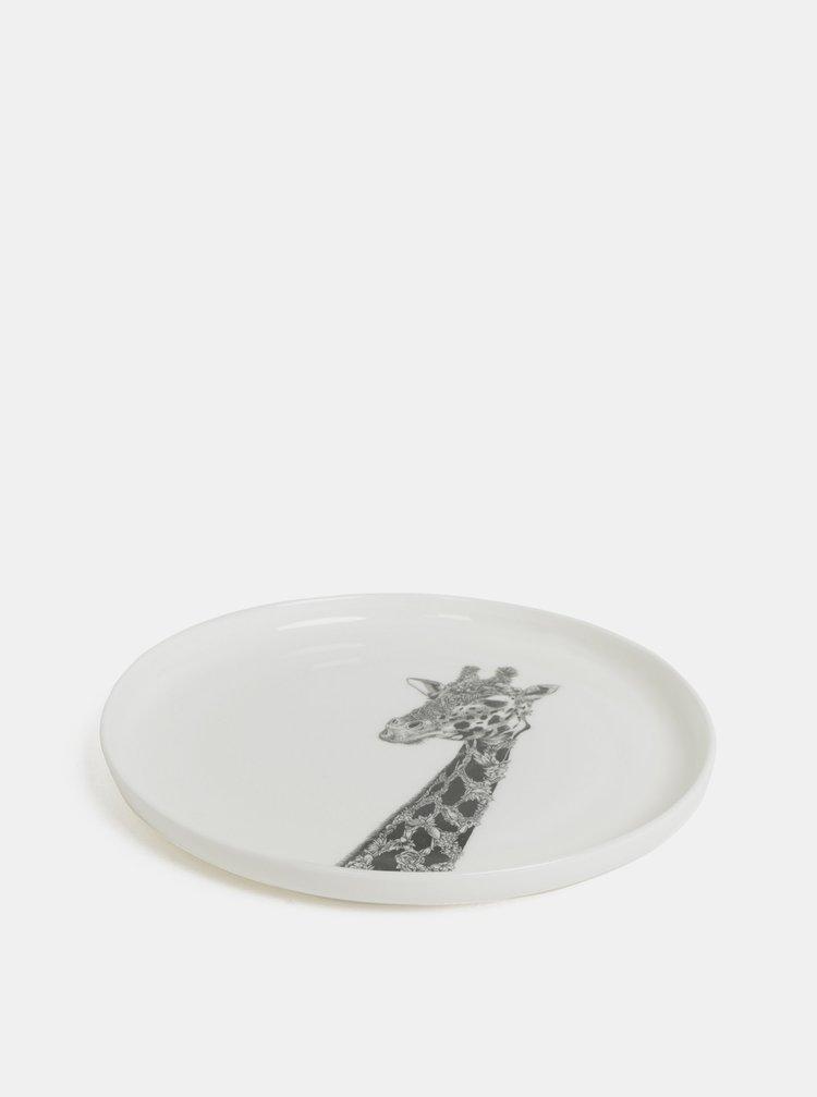 Bílý porcelánový talíř s motivem žirafy Maxwell & Williams