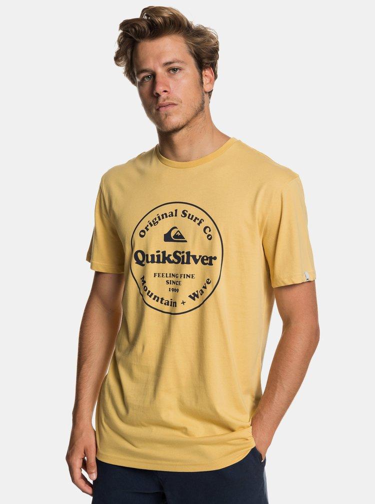 Žté regular fit tričko s potlačou Quiksilver