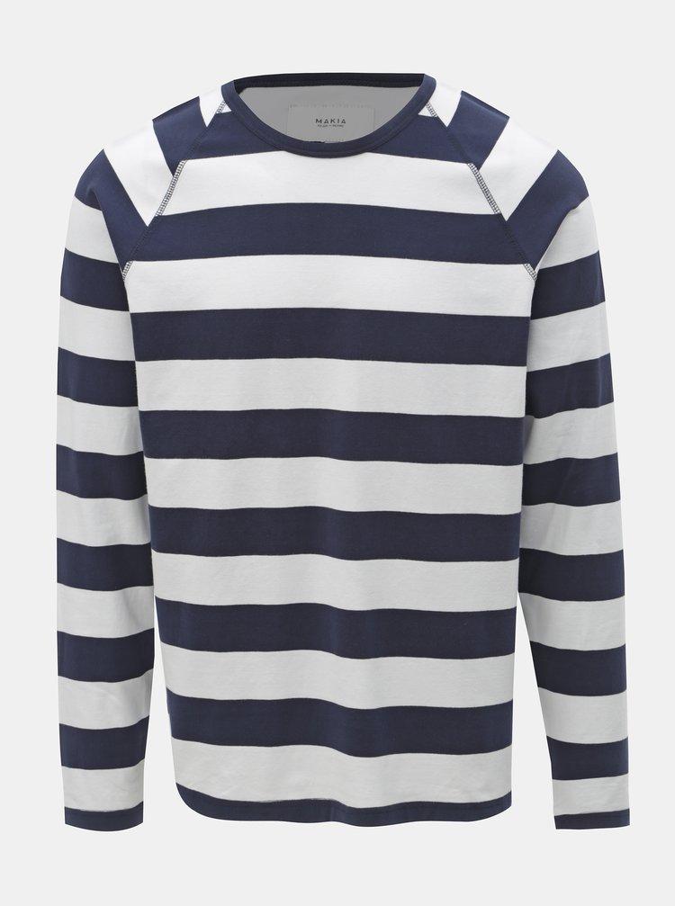 Bílo-modré pánské pruhované tričko Makia Keel