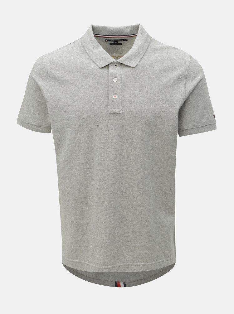 Šedé pánské slim fit polo tričko s potiskem Tommy Hilfiger