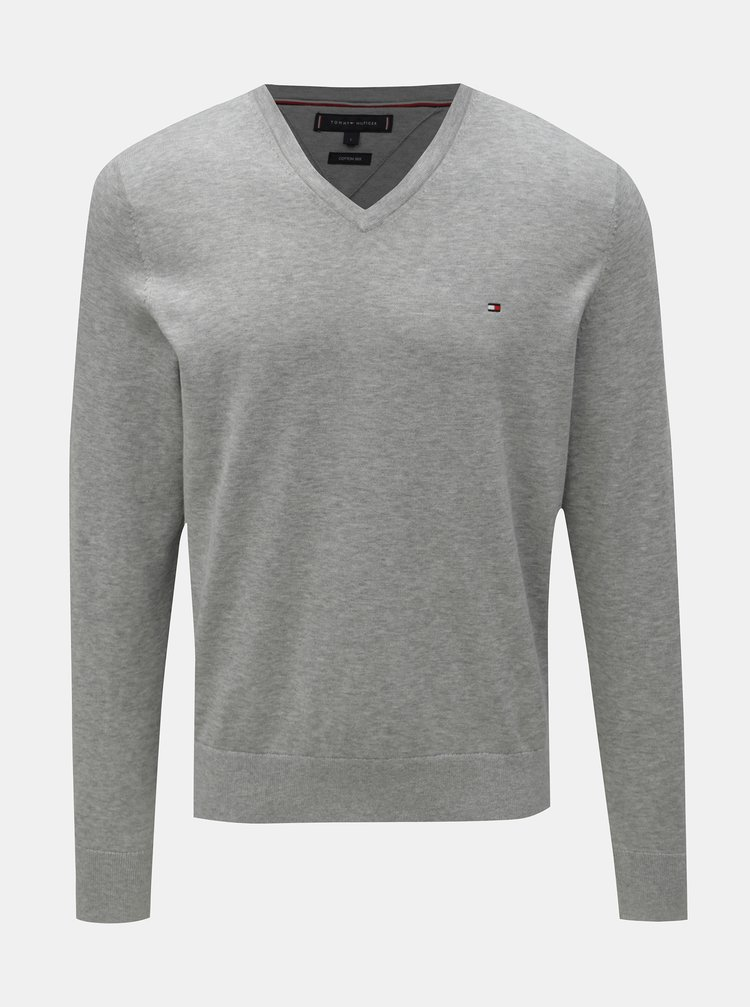 d8a2c95d6c1d Sivý pánsky melírovaný sveter s prímesou kašmíru Tommy Hilfiger Pima ...