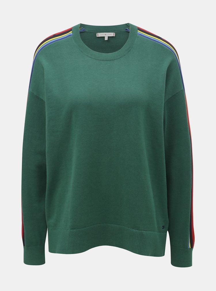 Tmavě zelený dámský svetr s pruhy na rukávech Tommy Hilfiger Jacklyn