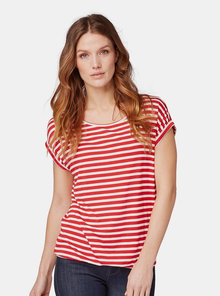 Bílo-červené dámské pruhované tričko Tom Tailor