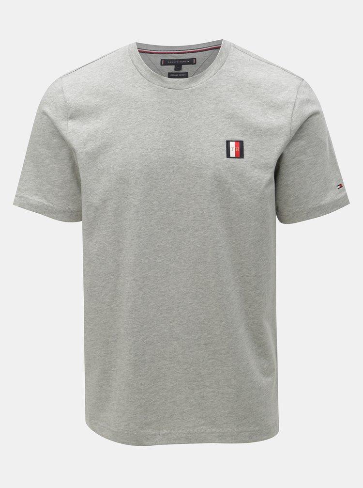 Svetlosivé pánske melírované tričko Tommy Hilfiger