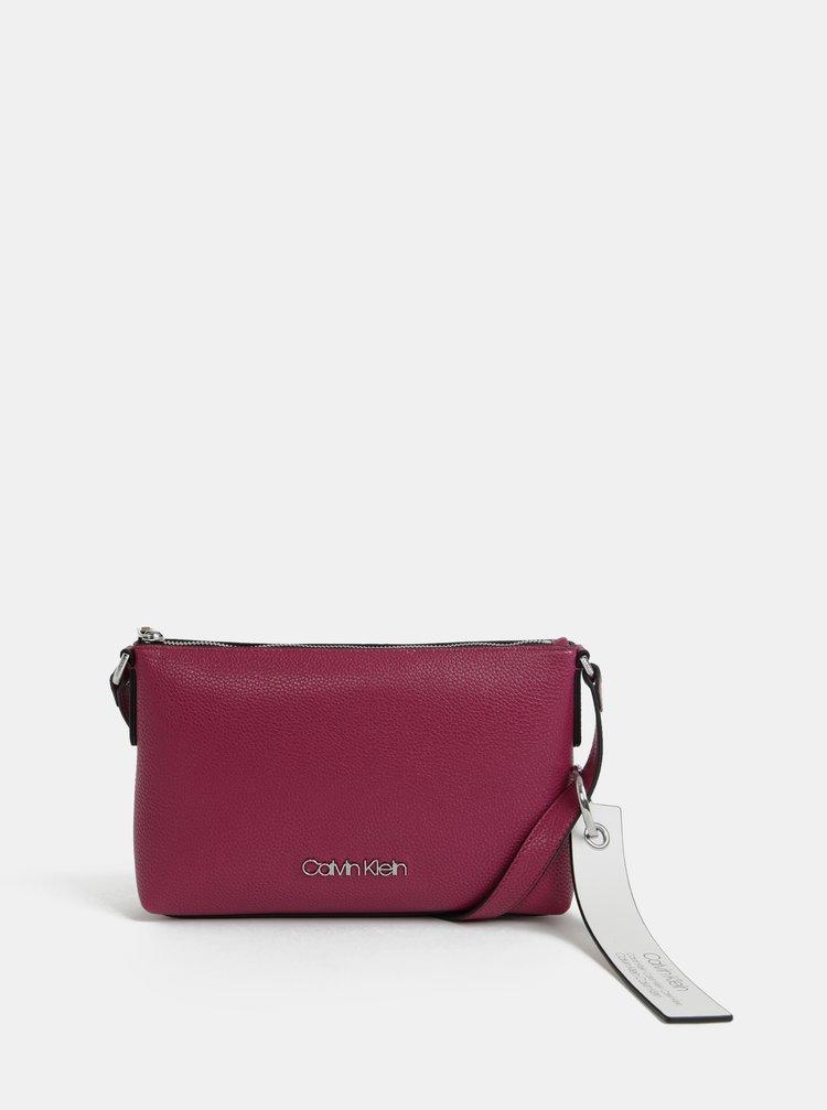 Tmavoružová crossbody kabelka Calvin Klein Jeans