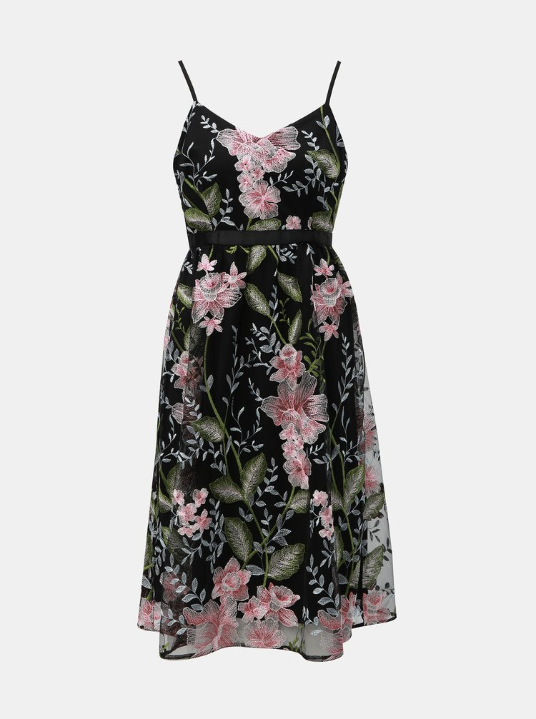 Rochie neagra florala din tulle Dorothy Perkins