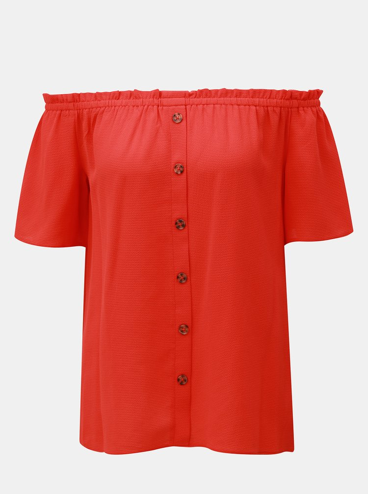 Červený top s odhalenými ramenami Dorothy Perkins
