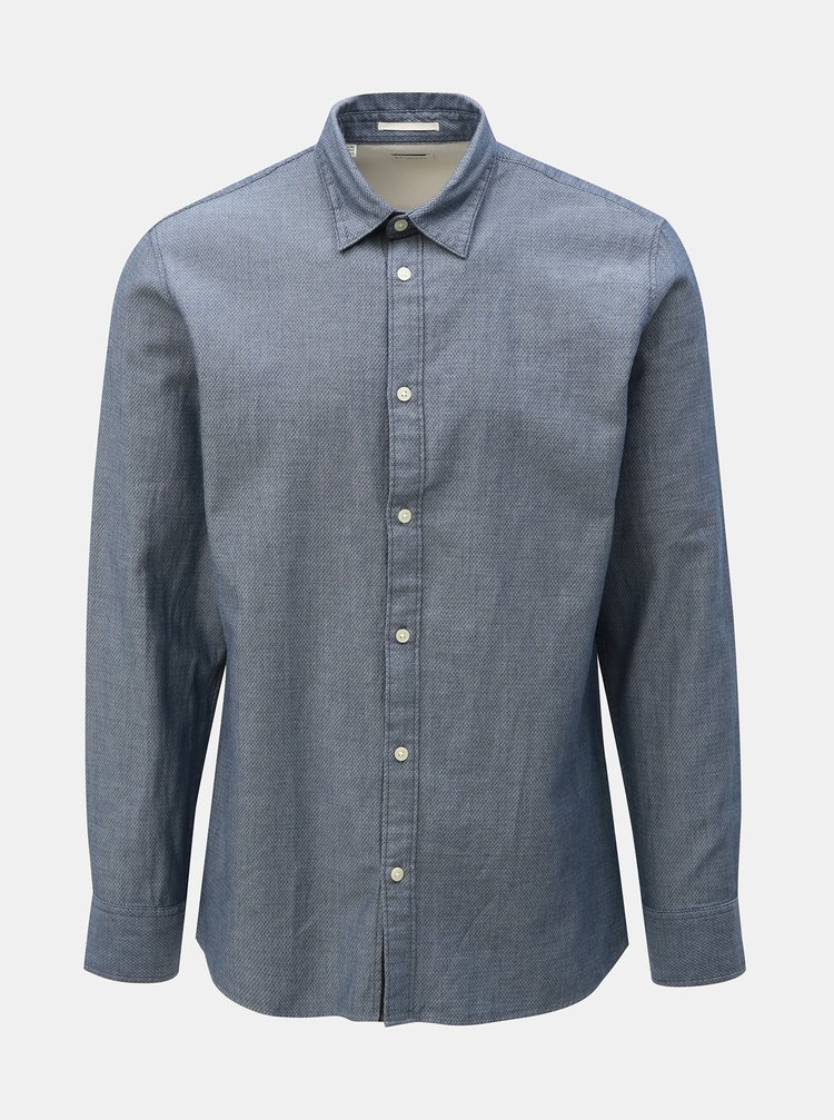 Modrá vzorovaná slim fit košile Selected Homme Jordan