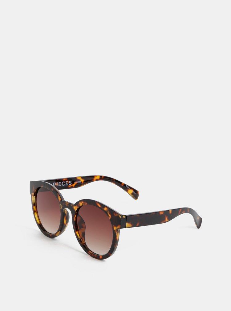 Hnědé vzorované sluneční brýle Pieces Stella