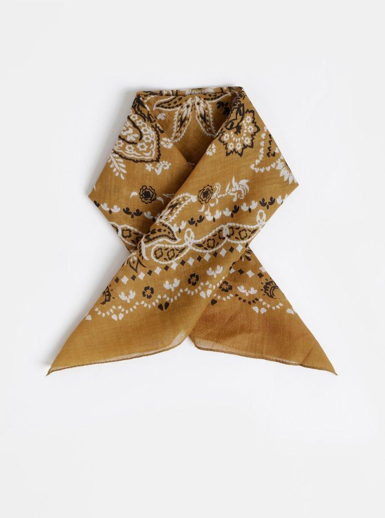 Hnědý vzorovaný šátek Pieces Brandy