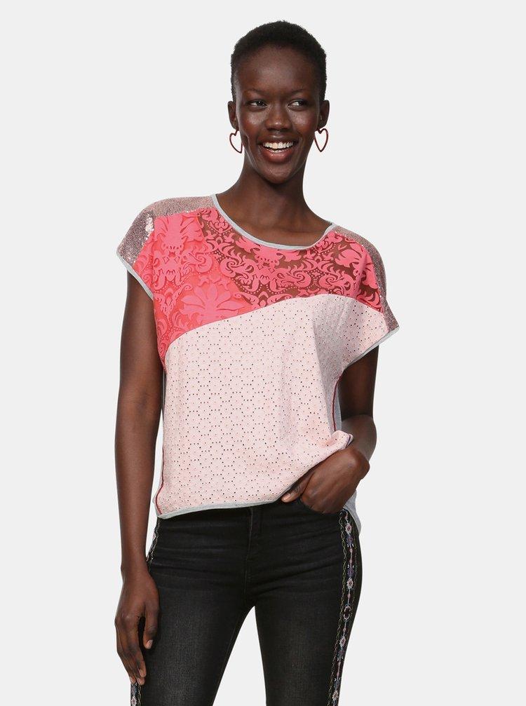 Šedo-růžové vzorované tričko s flitry Desigual Potomac