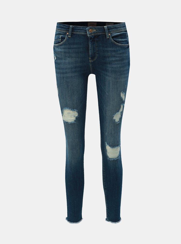 Modré skinny fit džíny s nezakončeným lemem ONLY Carmen