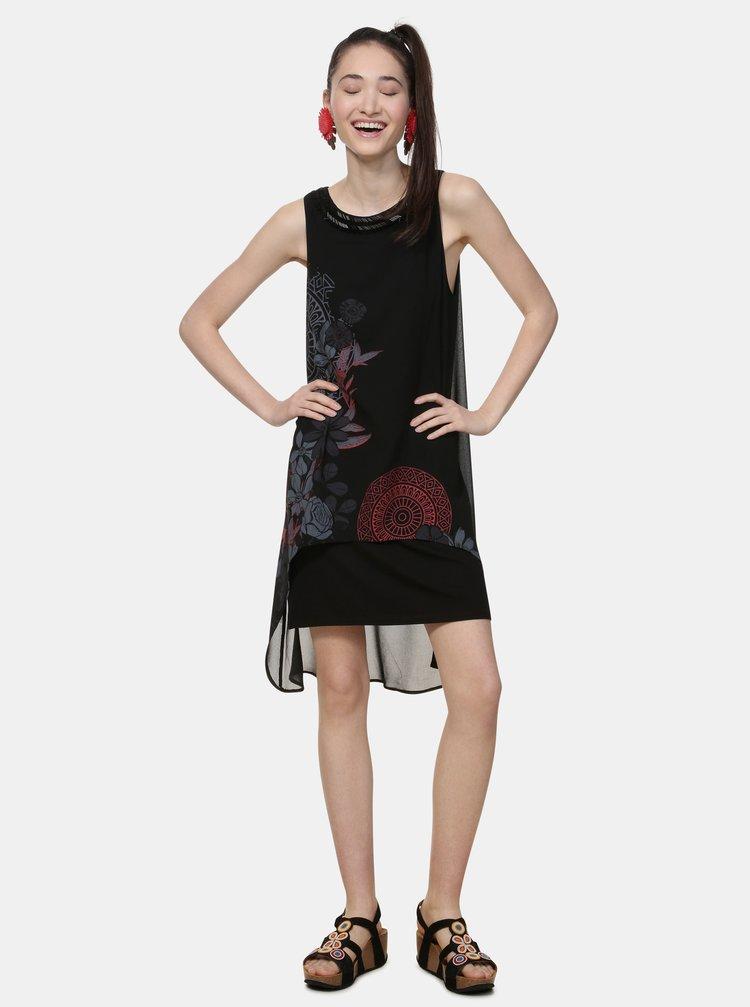Rochie neagra cu model si margele Desigual Siena