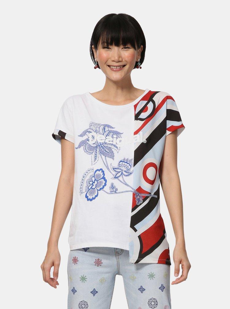 Biele asymetrické tričko s potlačou Desigual Brandall