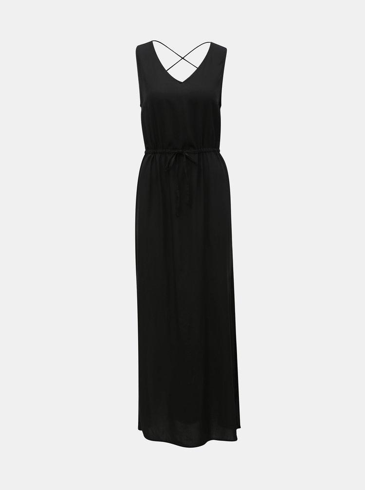 Černé maxi šaty s rozparkem VERO MODA Simply