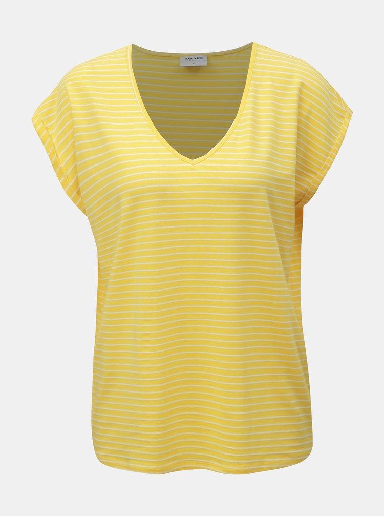 Žluté pruhované basic tričko VERO MODA AWARE Ava