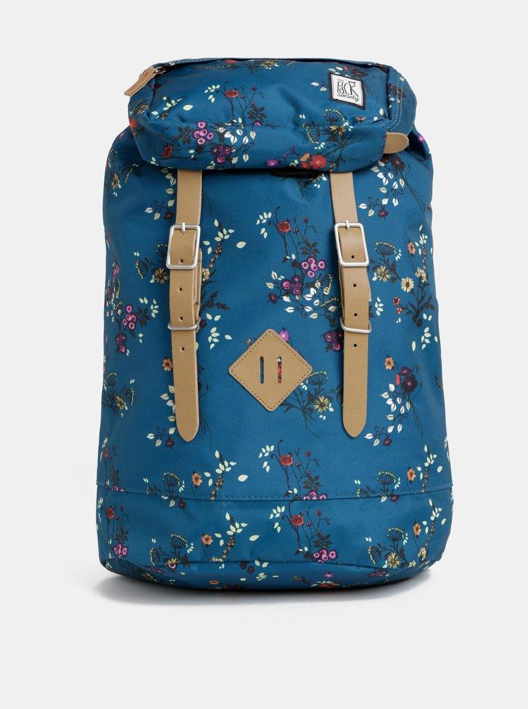 Petrolejový dámský květovaný voděopudivý batoh The Pack Society 23 l