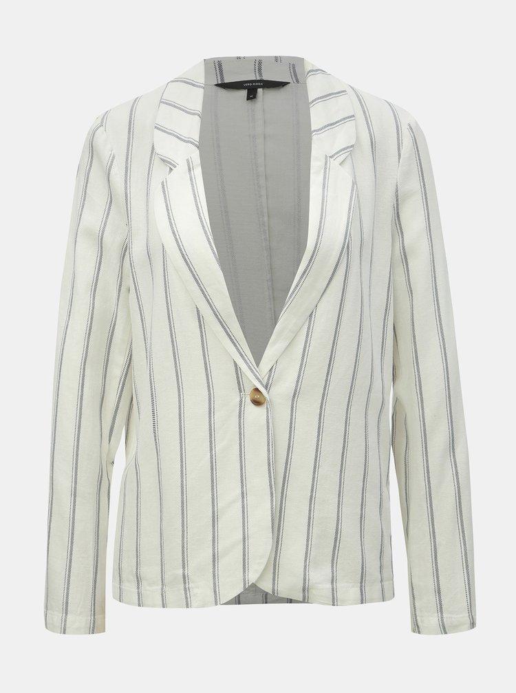 Bílé lněné pruhované sako VERO MODA Manna