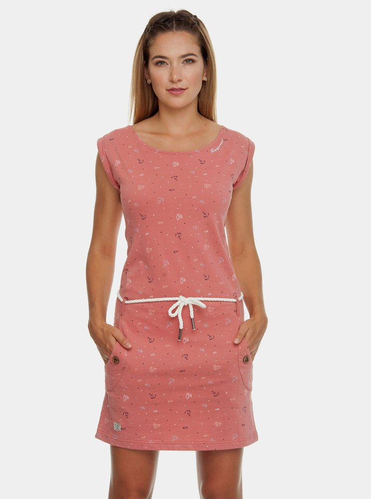Ružové vzorované šaty s opaskom Ragwear Tag